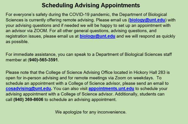 Advising Department Of Biological Sciences